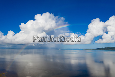 rainbow with beautiful sunshine and sky