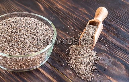 glass bowl of chia seeds