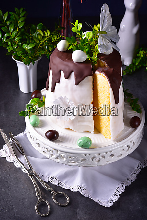 easter cake with sugar and chocolate