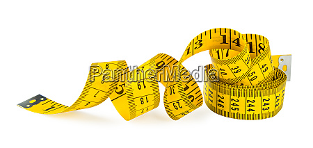 yellow isolated metric measuring tape on