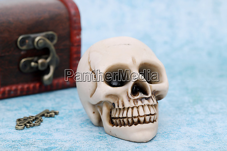 human skull with old treasure chest