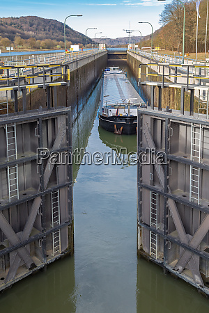 barge in a lock of the