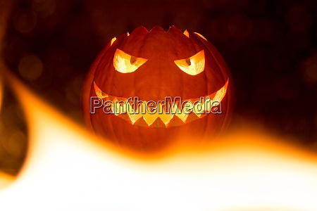 fire flames halloween pumpkin smile with