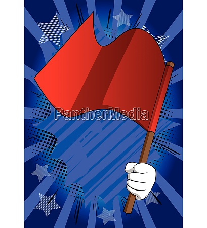 vector cartoon hand holding a flag