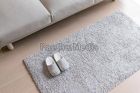beige slipper on carpet