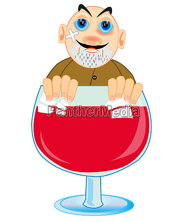 cartoon men alcoholic peering out goblet