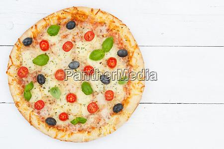 pizza margarita margherita from above copyspace