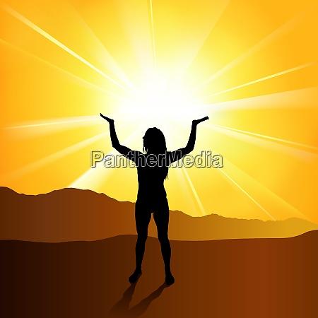silhouetted spiritual woman