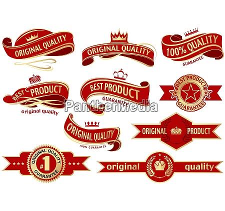 red banner ribbon set