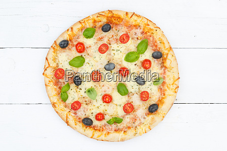 pizza margarita margherita from above on