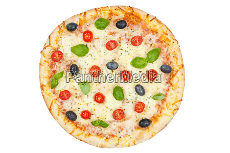 pizza margarita margherita from above isolated