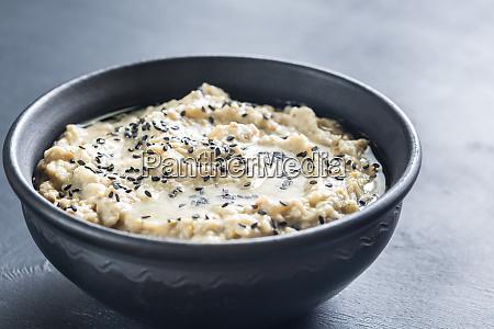 bowl of baba ghanoush