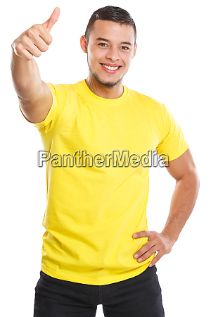 young man success thumbs up successful