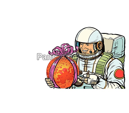 astronaut gives the planet mars isolate