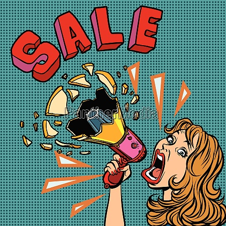 sale woman with megaphone advertising announcement