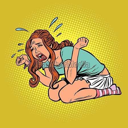 woman crying hysterical panic stress
