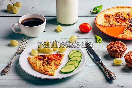 frittata with with cup of coffee