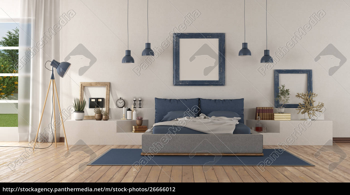 Royalty free photo 26666012 - Modern white and blue master bedroom