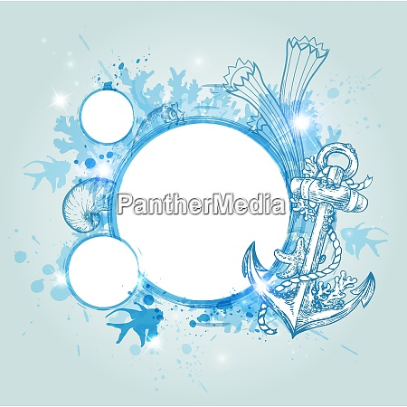 abstract decorative vector marine background blue