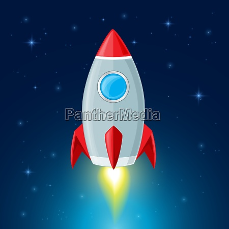 rocket flying in space space background