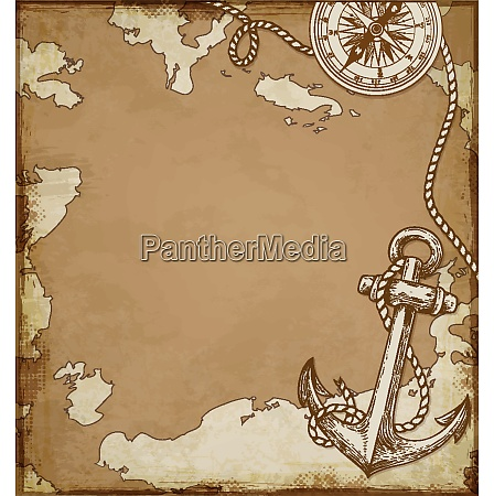 vintage vector map with anchor and