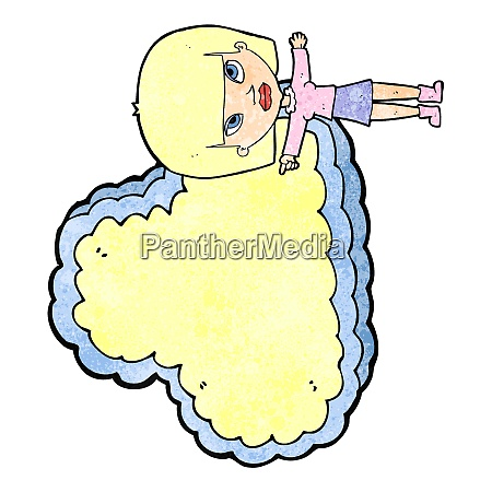 cartoon woman with cloud text space