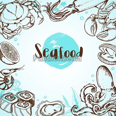 vintage seafood menu background with octopus
