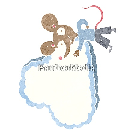 cartoon mouse with cloud text space