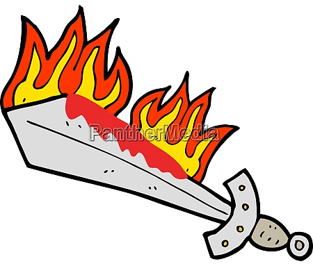 cartoon flaming sword