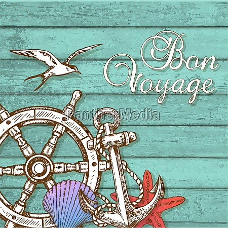 vintage vector travel background with hand