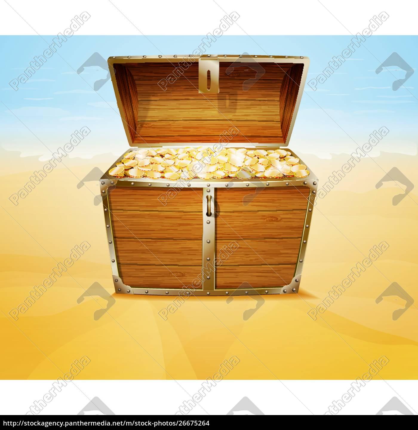 treasure, chest, on, a, tropical, beach - 26675264