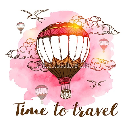 travel background with air balloons clouds