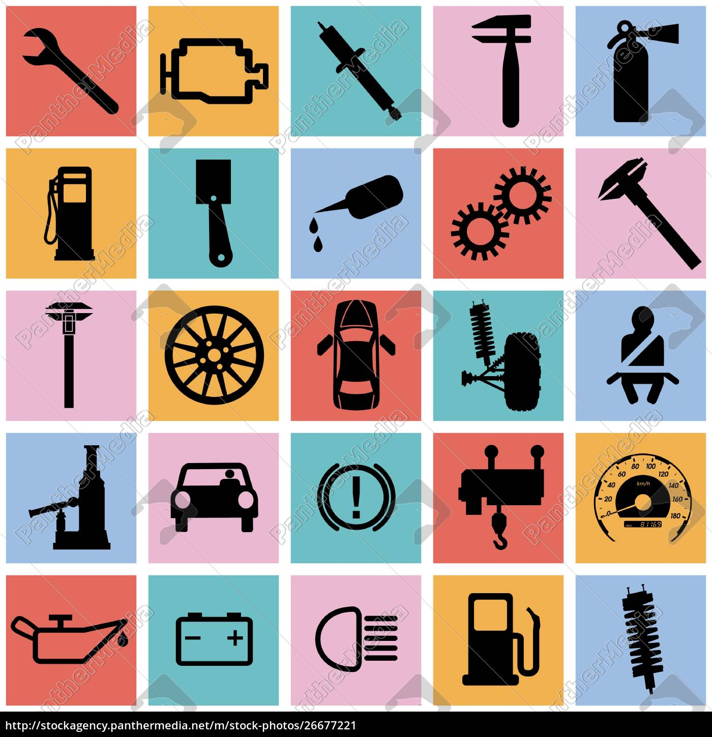 collection, flat, icons., car, symbols., vector - 26677221