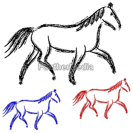 horses outlines vector collection