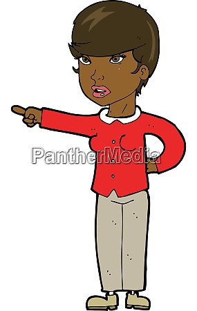 cartoon woman pointing finger of blame