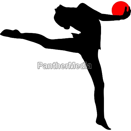 silhouette girl gymnast with the