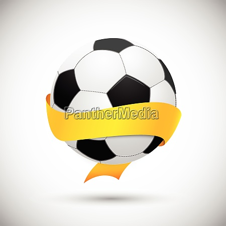 soccer ball with orange ribbon brazil
