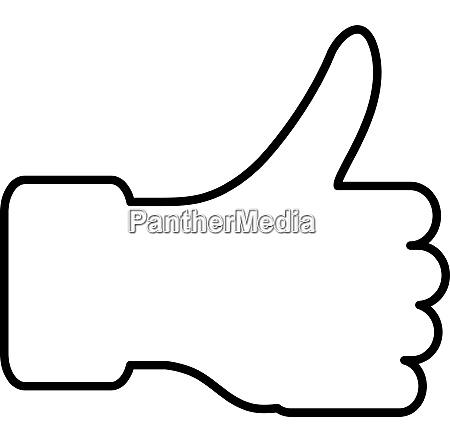 the thumb lifted upwards vector illustration