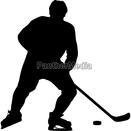 silhouette of hockey player isolated on