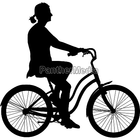 silhouette of a cyclist girl vector