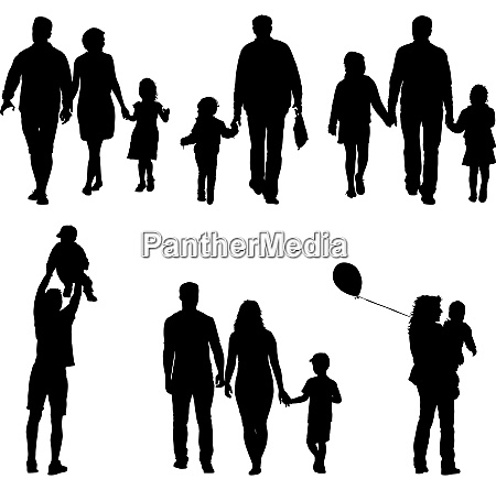set silhouette of happy family on
