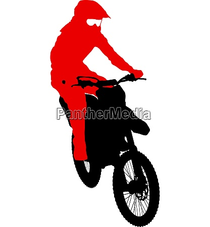 silhouettes rider participates motocross championship vector