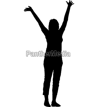 black silhouettes woman lifted his hands