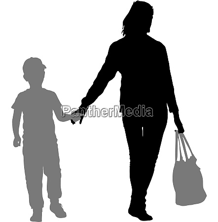 silhouette of happy family on a