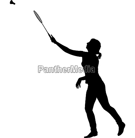 black silhouette of female badminton player