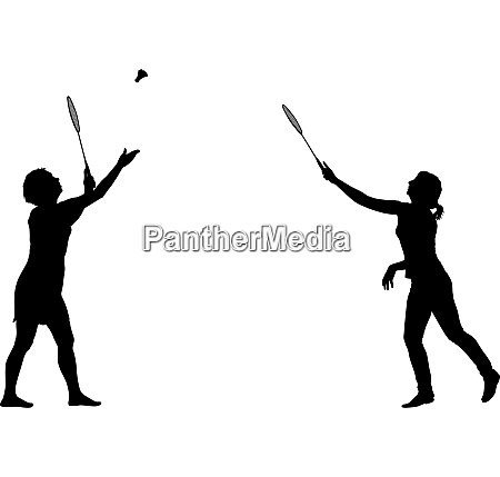 black silhouette of female badminton player
