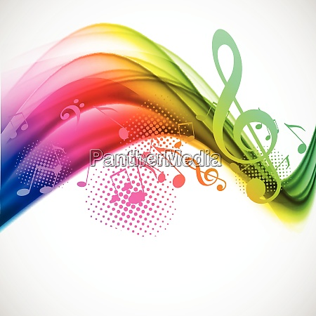 colorful wavy music background with notes