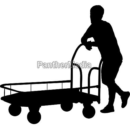 black silhouette hard worker pushing wheelbarrow
