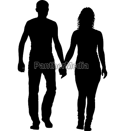 couples man and woman silhouettes on