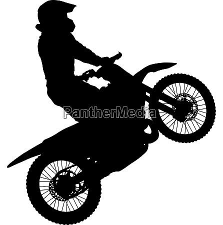 silhouettes rider participates motocross championship on